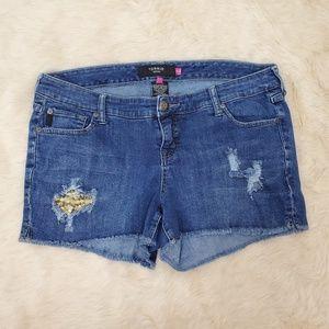 Torrid Denim Size 14 Distressed Jean Denim Shorts